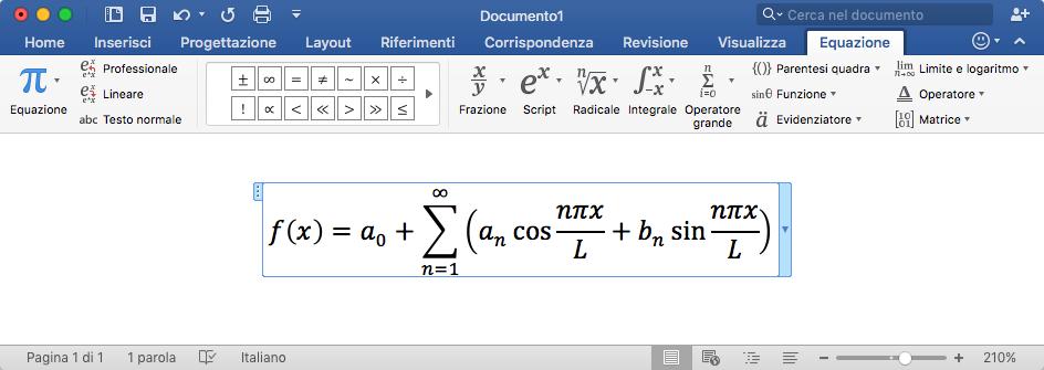 Formule da Microsoft Word a MathType